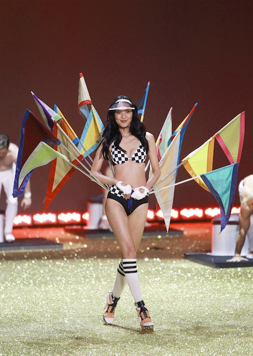 Model Liu Wen presents a creation during the Victoria's Secret Fashion Show in New York