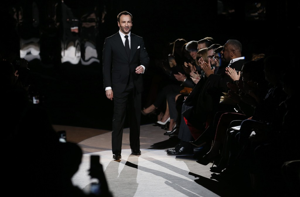 Designer Tom Ford walks on the catwalk following the presentation of the Tom Ford Autumn/Winter 2013 collection during London Fashion Week