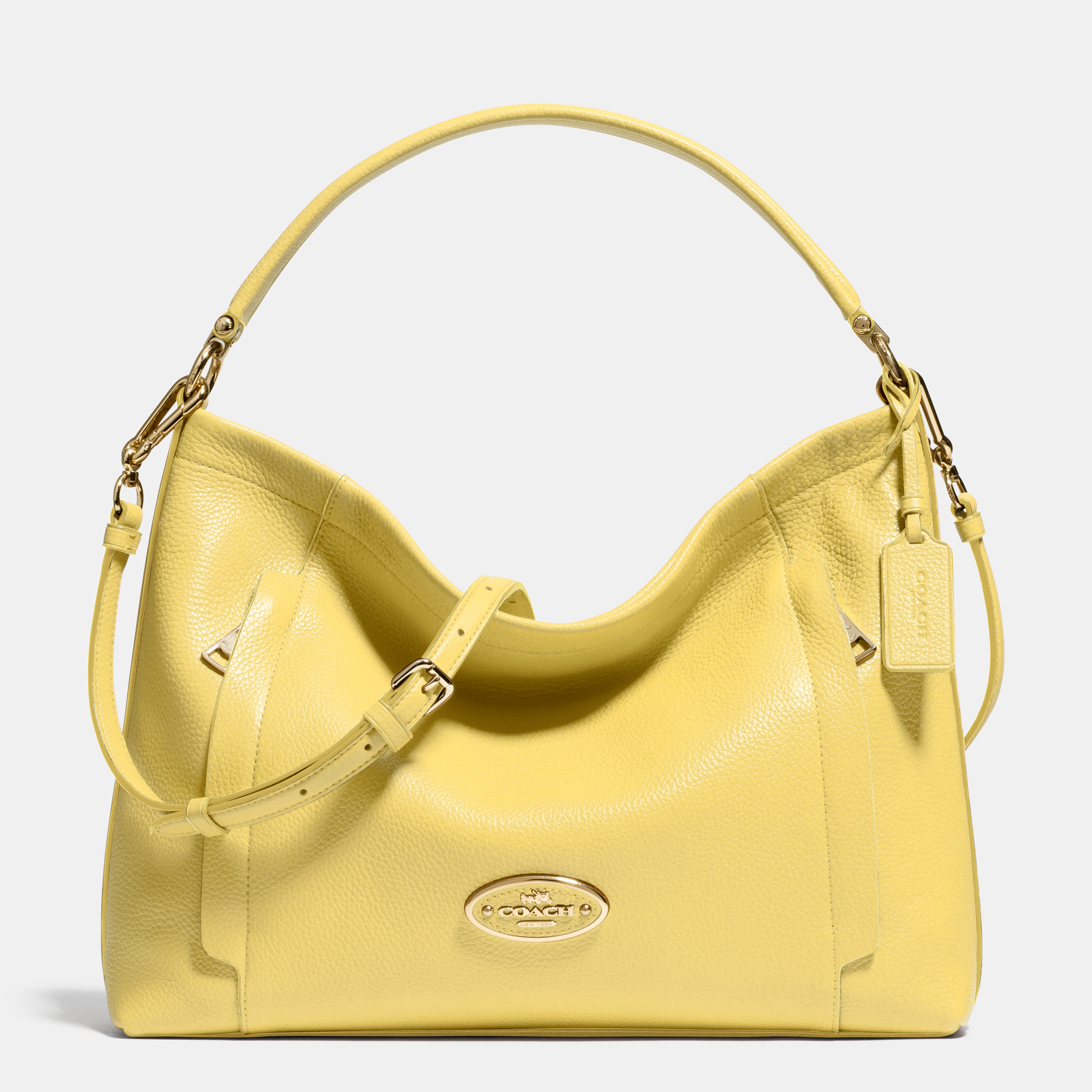 Polished Pebbled Leather Scout Hobo - Yellow