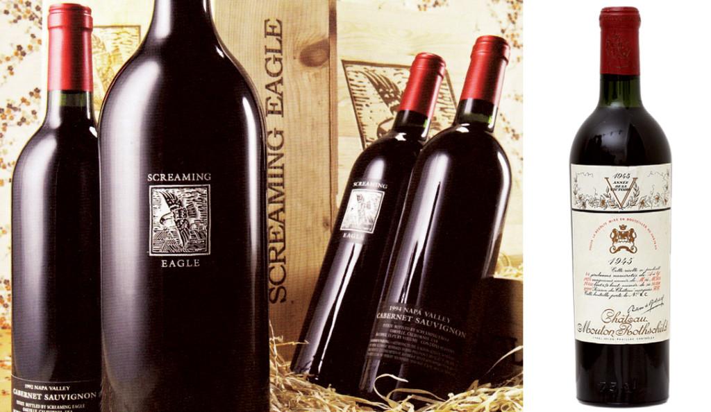 Chai vang Screaming Eagle Cabernet và chai Château Mouton Rothschild