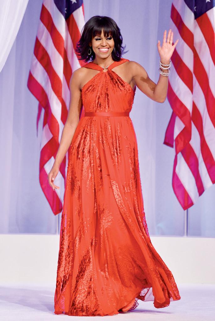 Phu nhân tổng thống Mỹ Michelle Obama chọn mặc đầm của Jason Wu tại lễ nhậm chức của chồng