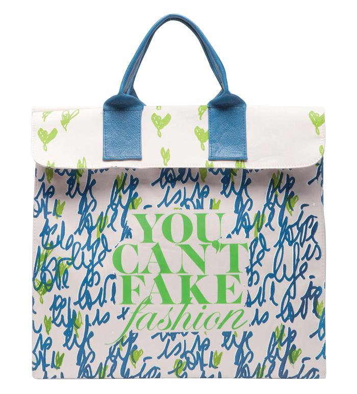 Túi xách do Diane von Furstenberg thiết kế cho phong trào You Can't Fake Fashion