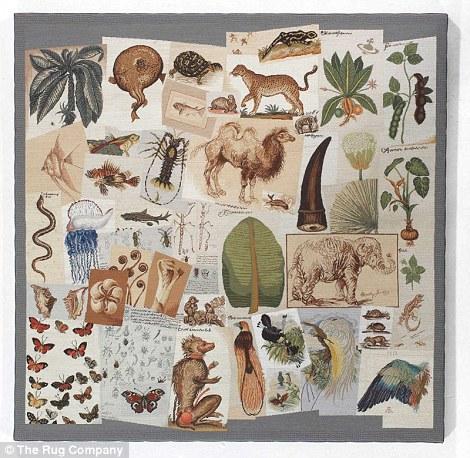 Thảm thêu hình động vật đặt trong phòng ngủ master là thiết kế nằm trong bộ sưu tập Xuân Hè 2001 của Westwood