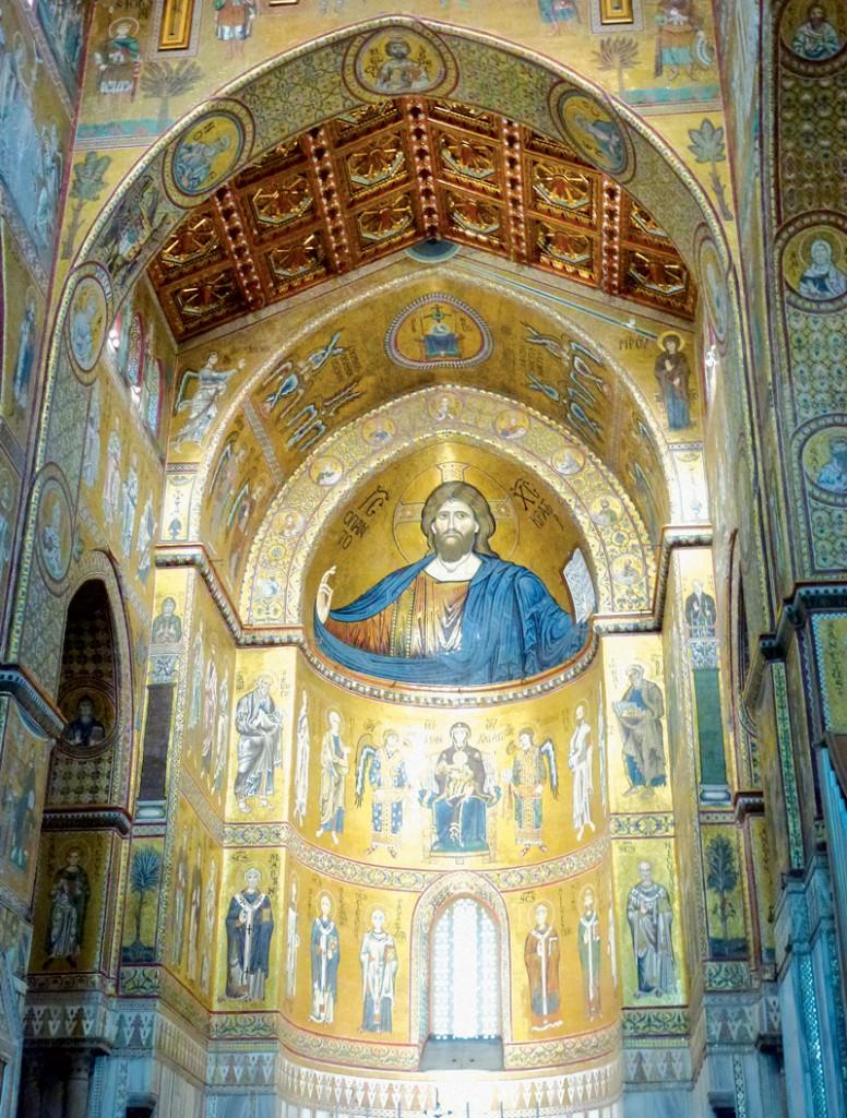 Thánh đường Monreale với các bức tranh ấn tượng làm từ vô vàn các viên đá mosaic đầy màu sắc