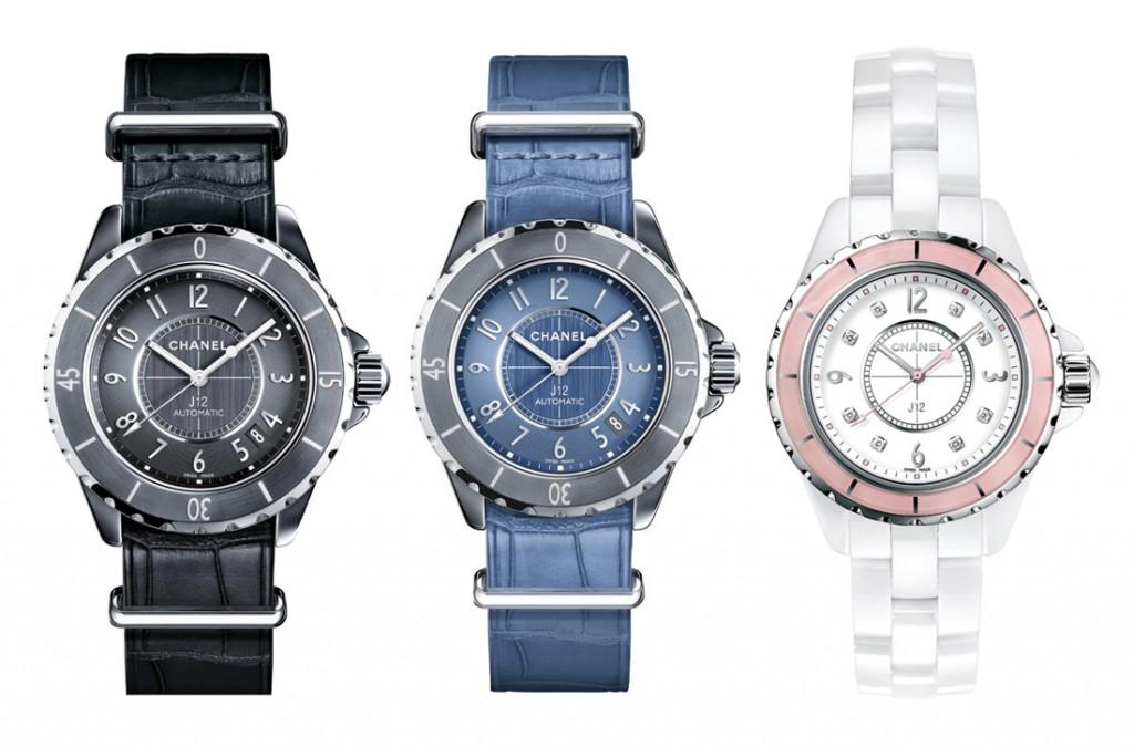 Đồng hồ dây da cá sấu hoặc da trăn, Chanel; Đồng hồ J12 Soft Rose bằng ceramic, Chanel; Đồng hồ J12-G10 bằng titanium, Chanel