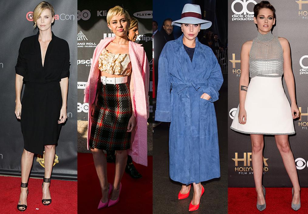 Từ trái qua: Charlize Theron, Miley Cyrus, Lady Gaga, Kristen Stewart mang giày của Casadei