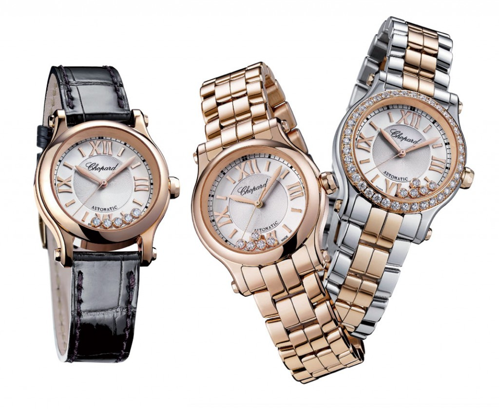 Các phiên bản bằng dây da bóng, vàng hồng hoặc thép phối với vàng hồng đang rất được yêu thích của Chopard Happy Sport