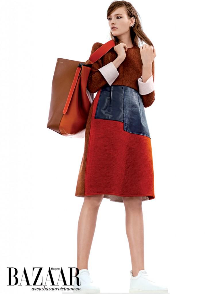 Đầm, túi, giày, Céline. Hoa tai, Repossi.