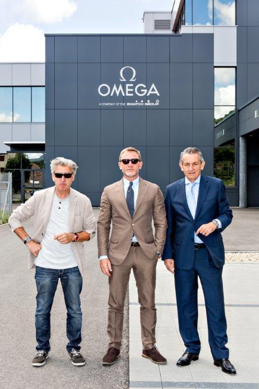 Nick Hayek_Daniel Craig_Stephen Urquhart are seen at the OMEGA Factory V...