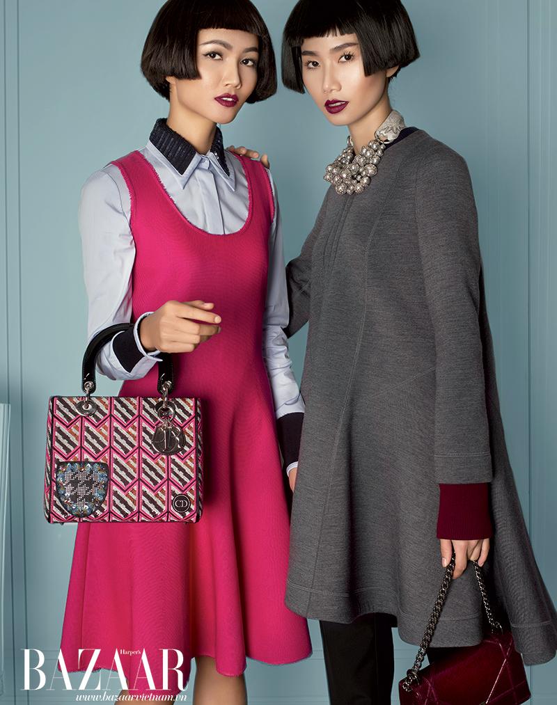 H'HEN NIÊ và THANH THỦY: Đầm, áo sơ-mi, áo sweater, túi xách, quần tây, vòng cổ, Dior.