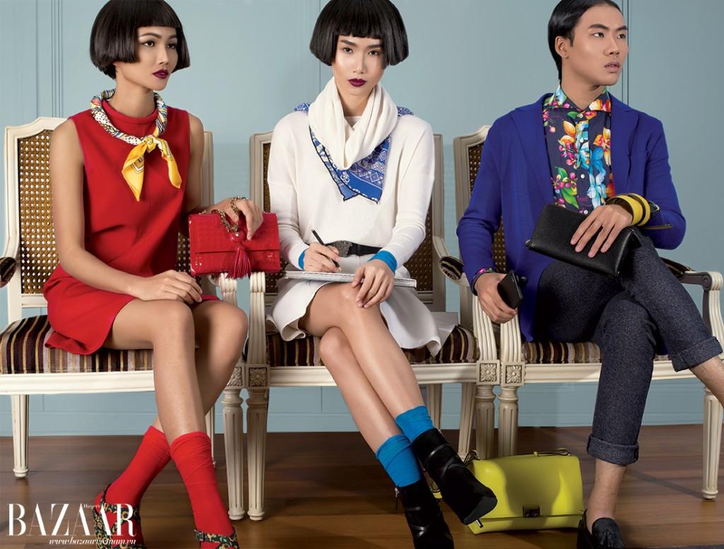 Từ trái sang: H'HEN NIÊ: Đầm đỏ, túi xách đỏ, Versace. Giày đế xuồng in hoa, Catwalk. Khăn và vớ của stylist. THANH THỦY: Áo cổ lọ, váy trắng xòe, bốt cổ thấp, Ralph Lauren. Thắt lưng, Versace. Túi xách vàng (đặt dưới ghế), Bally. Khăn, cổ tay áo màu xanh và vớ của stylist. VÕ THÀNH AN: Sơ-mi tay dài in hoa, áo len xanh mặc bên ngoài, Ralph Lauren. Thắt lưng vàng (làm vòng tay), Bally.