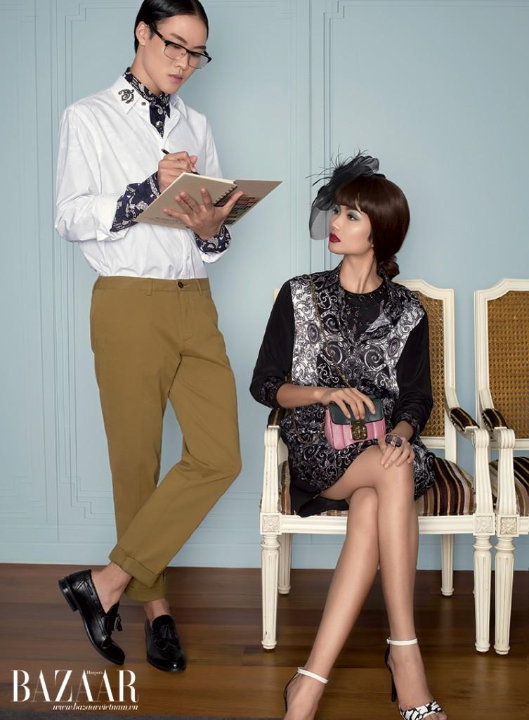 VÕ THÀNH AN: Áo sơ-mi in hoa mặc bên trong và áo sơ-mi trắng cổ dập kim loại mặc bên ngoài, Versace. Quần khaki vàng, Hugo Boss. H'HEN NIÊ: Đầm cổ tròn dập lỗ mặc bên trong, Just Cavalli. Đầm sơ-mi lụa in họa tiết mặc bên ngoài và nhẫn đính đá, Versace. Túi minisize, Chloé. Sandal phối màu đen trắng, Catwalk.