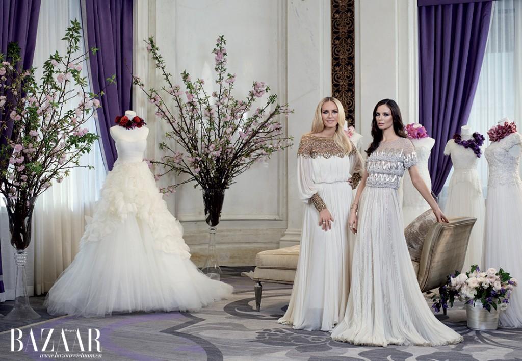Keren Craig và Georgina Chapman thanh lịch chụp ảnh cùng bộ sưu tập áo cưới Fall 2015