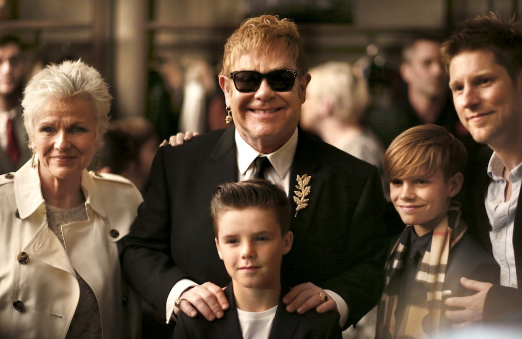 Julie Walters, Sir Elton John, Christopher Bailey, Romeo Beckham and Cruz Beckham at the Burberry Festive Film Premiere