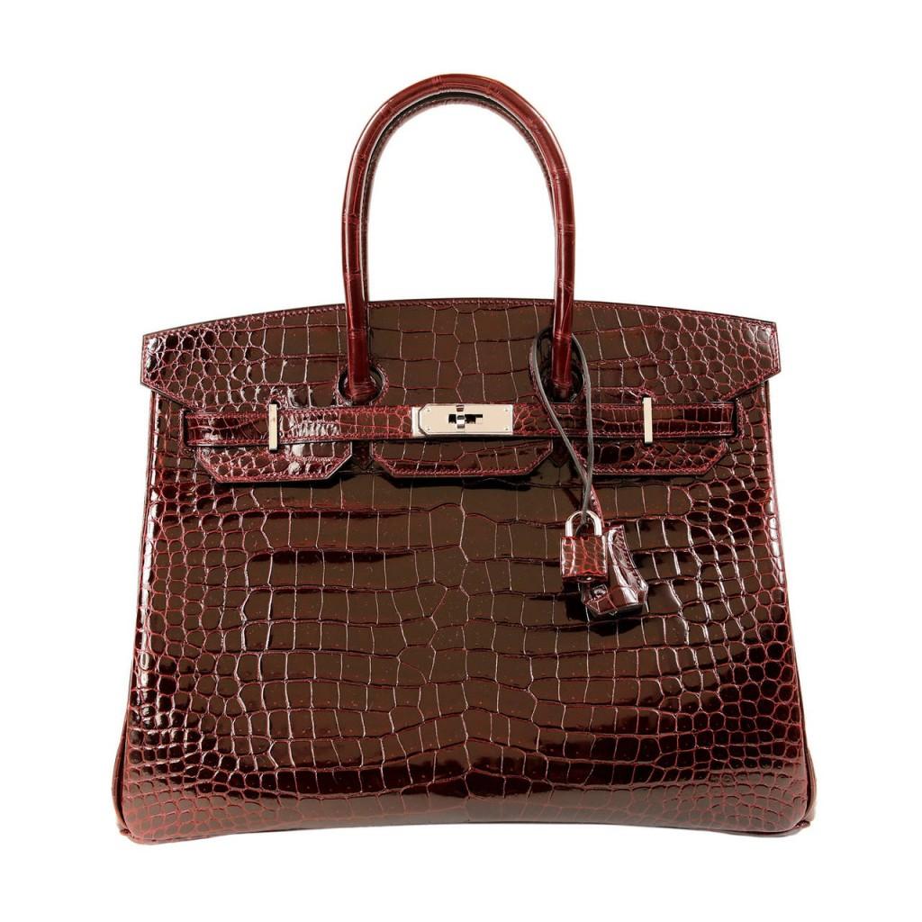 Túi Hermès Bordeaux Porosus Crocodile Birkin