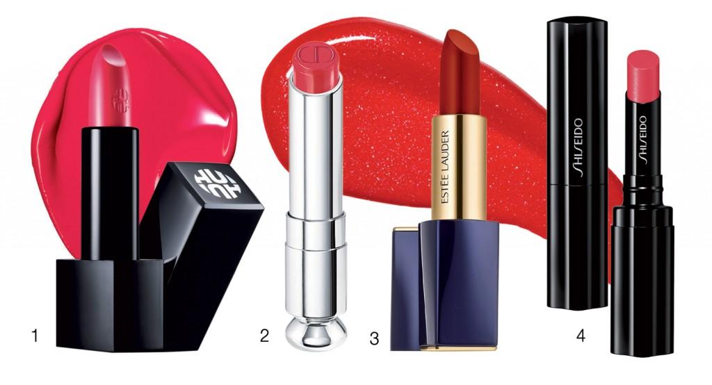 Son Rouge Real, 750.000 đồng, O HUI Son môi Addict, 880.000 đồng, Dior Son Veiled Rouge, 750.000 đồng, Shiseido Son Pure Color Envy Velvet, 900.000 đồng, Estée Lauder