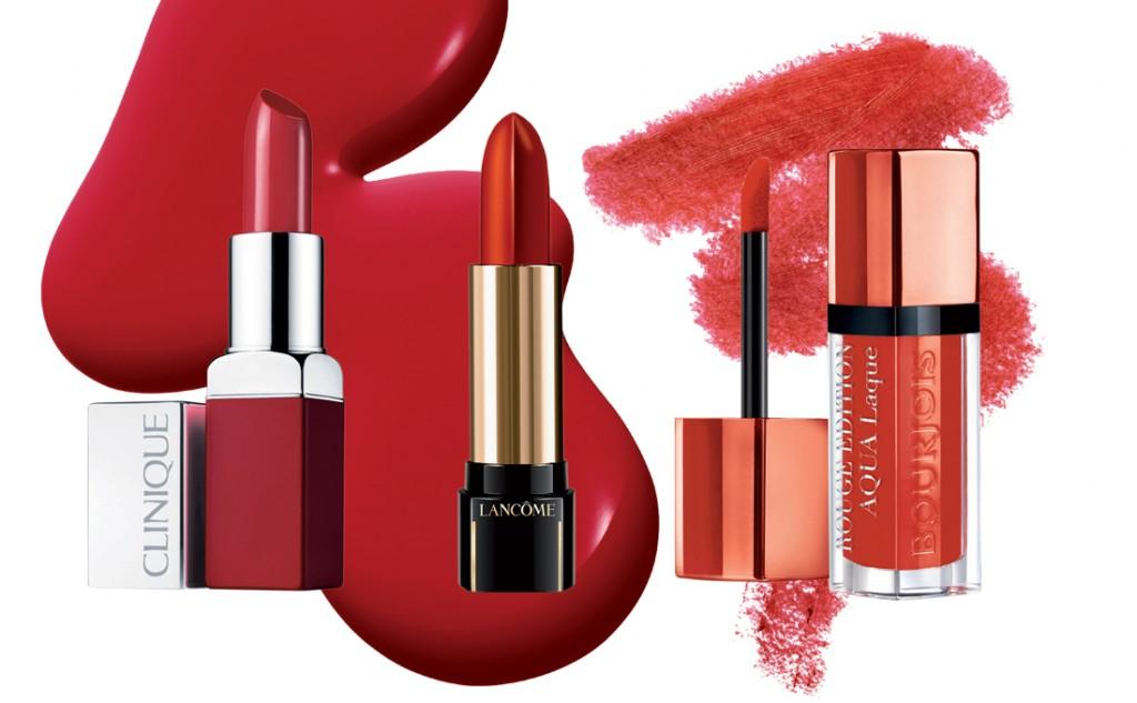Son môi L'Absolu Rouge Définition, 850.000 đồng, Lancôme Son Rouge Edition Aqua Laque, 405.000 đồng, Bourjois Son Lip Pop, 490.000 đồng, Clinique