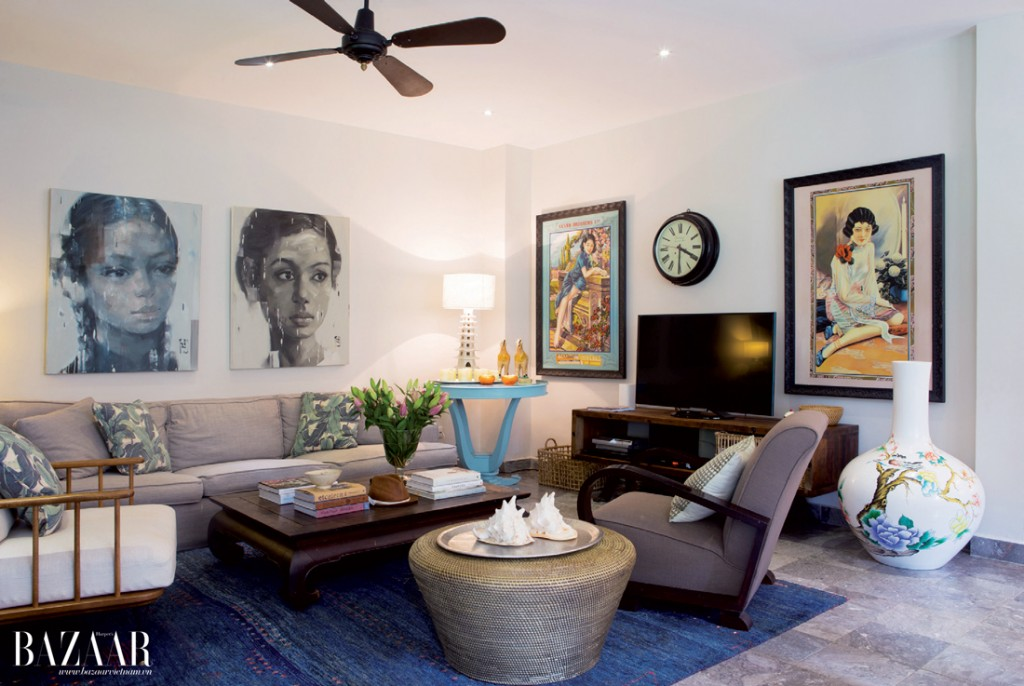 Cảm hứng từ văn hóa Á Đông thể hiện trong cách bài trí phòng khách
