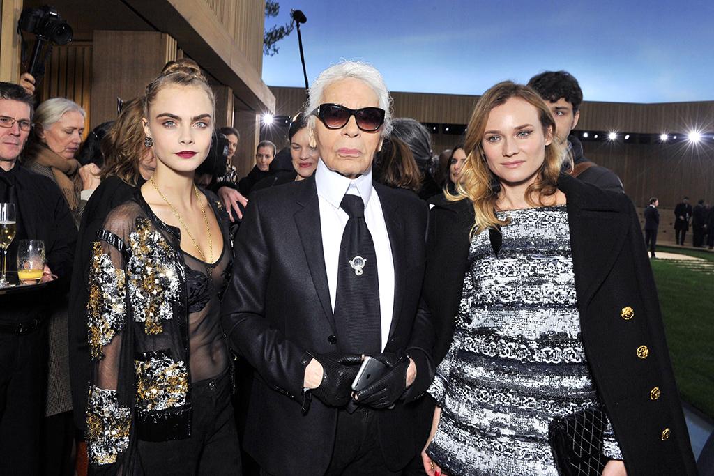 Karl Lagerfeld bên 2 nàng thơ Cara Delevingne và Diane Kruger