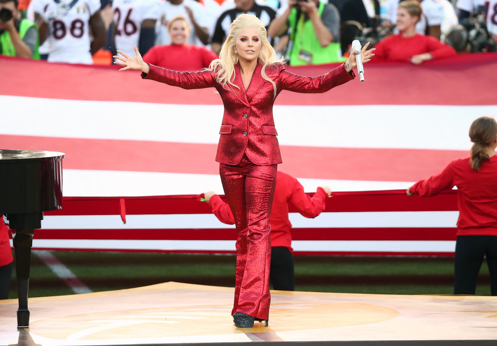 Lady-Gaga-Red-Gucci-Suit-Super-Bowl
