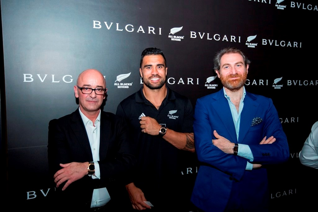 Bulgari Watch Communications Director Pascal Brandt, Liam Messam, Fabrizio Buonamassa