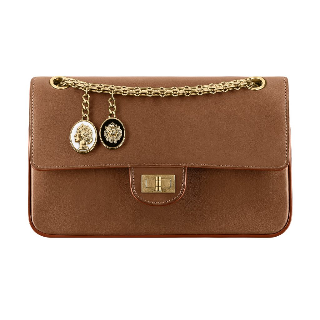 Camel soft leather 2.55 bag with charms