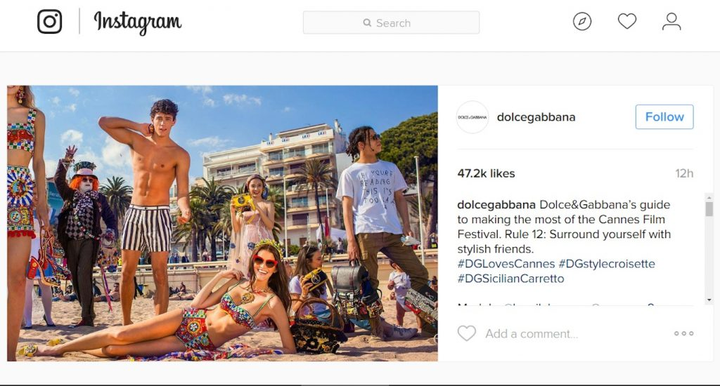 Hình ảnh được chia sẽ trên instagram của D&G