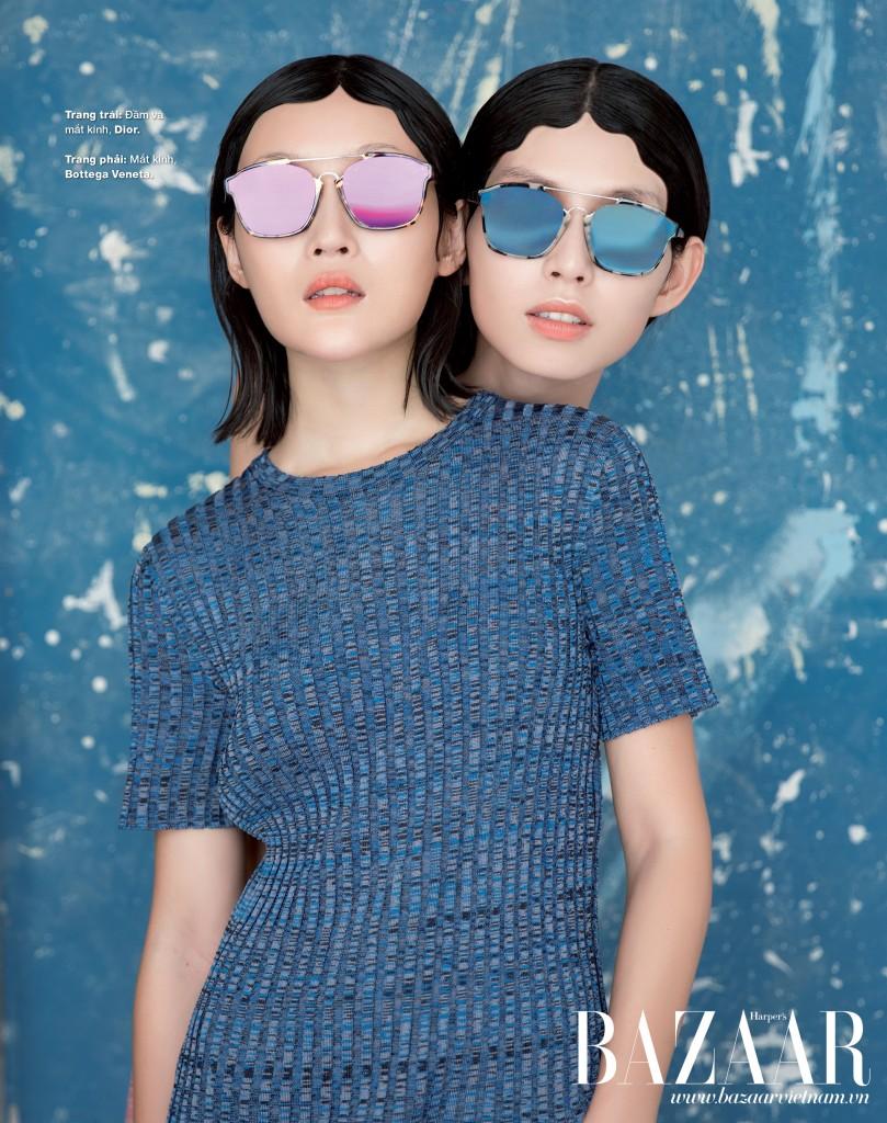 Đầm và mắt kính Dior