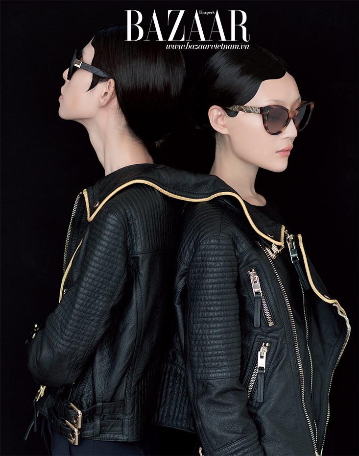 Áo khoác da và mắt kính Burberry