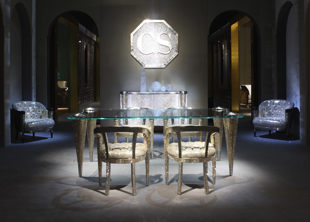 Bộ bàn ghế khảm pha lê Swarovski