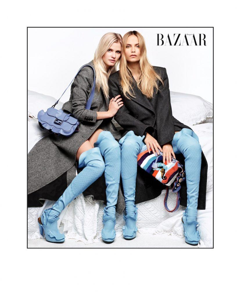 Lara: Áo khoác: Max Mara Túi, vớ và giày : Fendi Natasha: Áo khoác: Roberto Cavalli Túi vớ và giày: Fendi