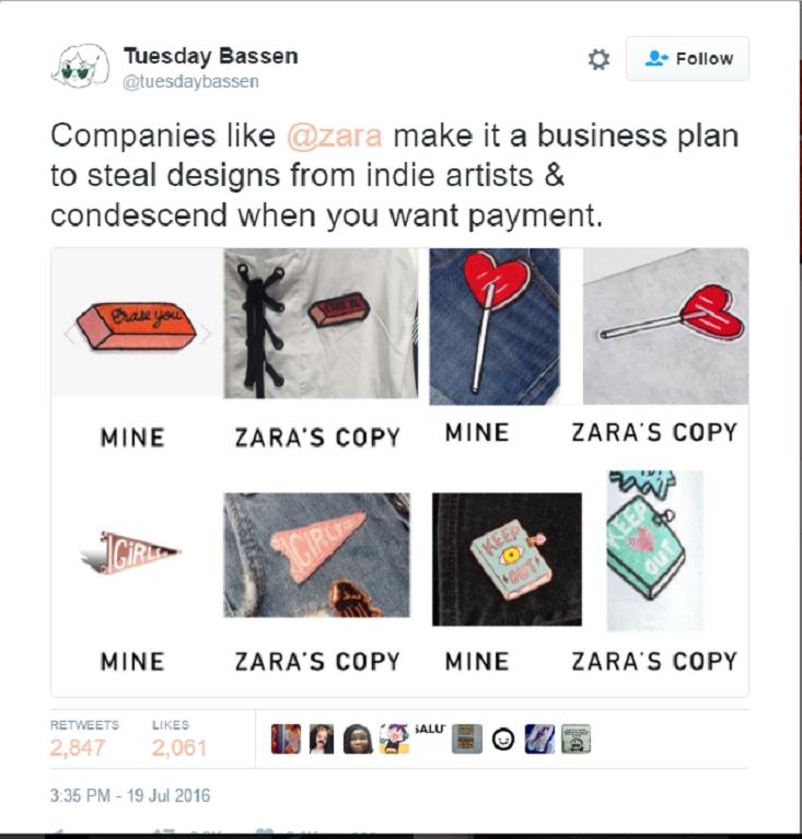 So sánh giữa những thiết kế gốc của Tuesday Bassen và những mẫu đã được Zara 'tái sử dụng' khi chưa xin phép