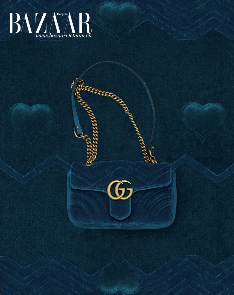 Túi xách GG Marmont chất liệu nhung, Gucci