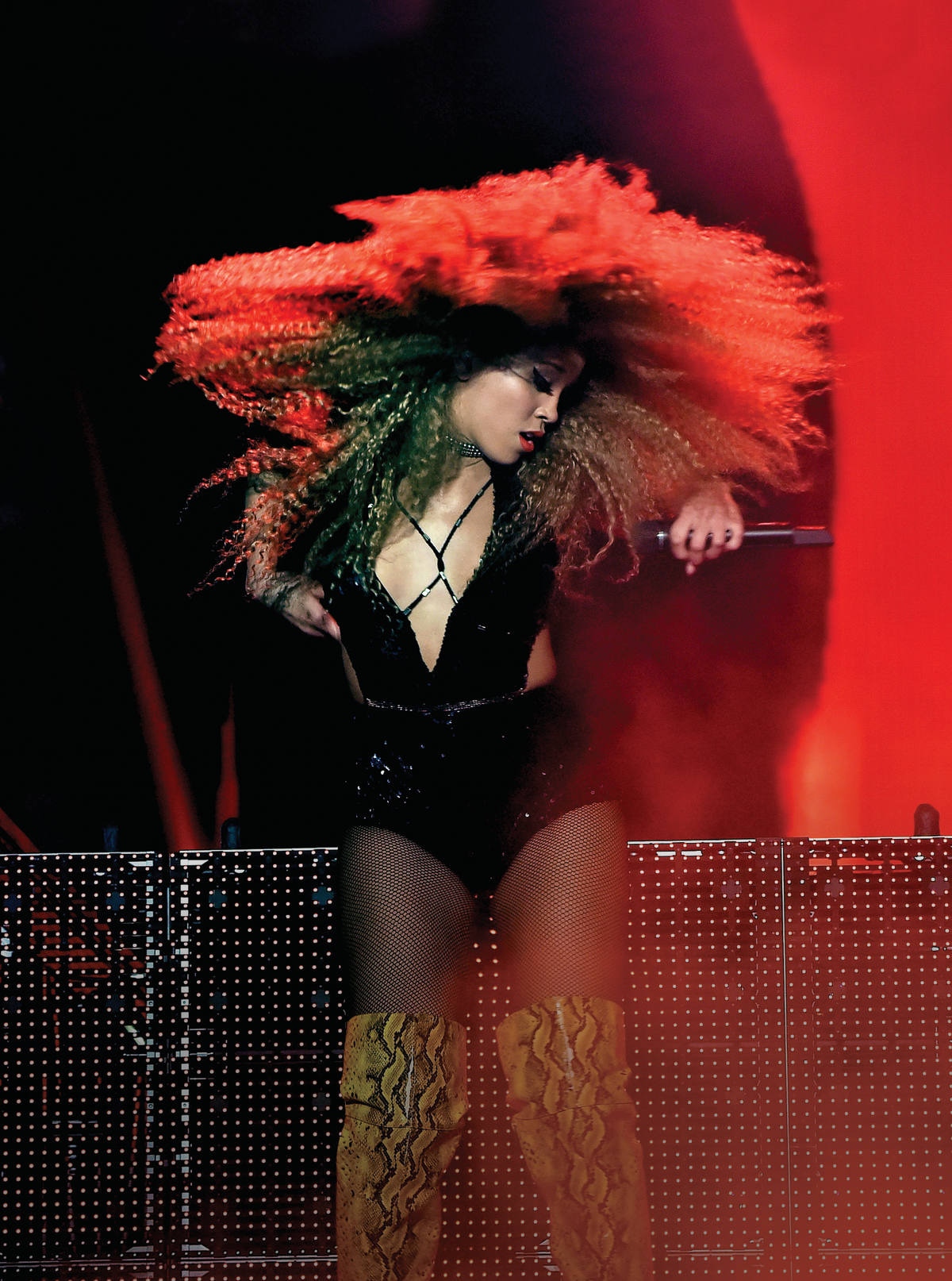 INDIO, CA - APRIL 23: Guest singer Jillian Hervey of Lion Babe performs onstage with Disclosure during day 2 of the 2016 Coachella Valley Music & Arts Festival Weekend 2 at the Empire Polo Club on April 23, 2016 in Indio, California. Kevin Winter/Getty Images for Coachella/AFP