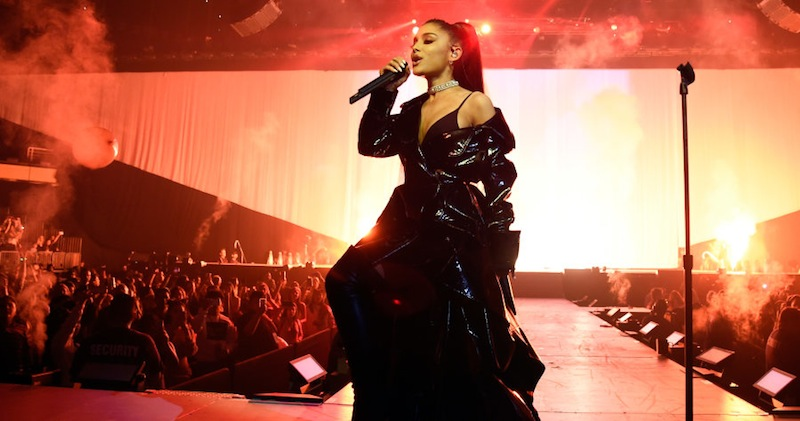 "PHOENIX, AZ - FEBRUARY 03: (EXCLUSIVE COVERAGE) Ariana Grande performs on stage during the ""Dangerous Woman"" Tour Opener at Talking Stick Resort Arena on February 3, 2017 in Phoenix, Arizona. (Photo by Kevin Mazur/Getty Images for Live Nation)"