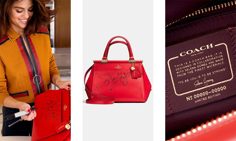Không chỉ có chữ ký của nữ ca sĩ; dòng túi Coach X Selena Gomez còn có tag đính kèm chứng nhận chiếc túi là phiên bản giới hạn; được hợp tác với Selena Gomez.