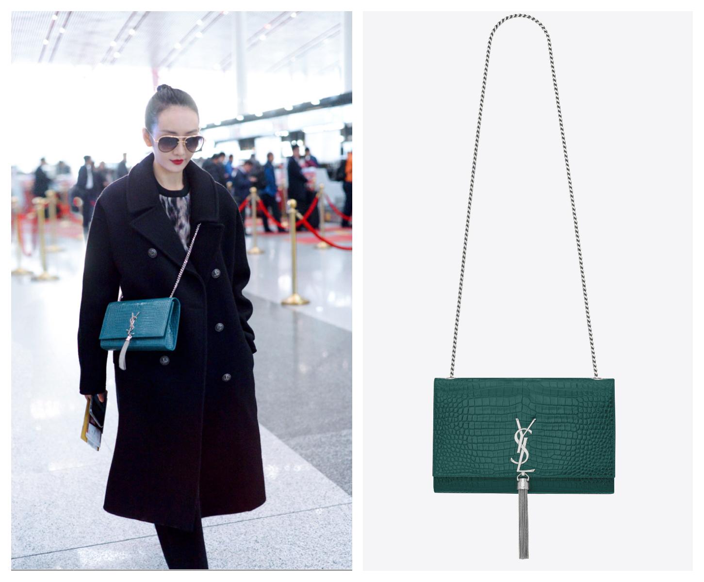 VƯƠNG ÂU xuất hiện sang trọng với set đồ tối màu phối cùng túi xách Saint Laurent Kate Satchel.