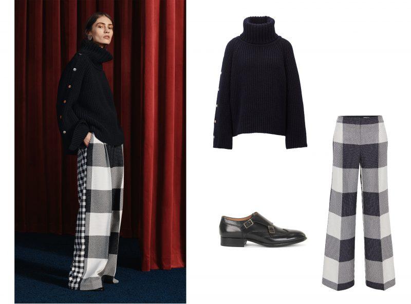 Bí quyết thời trang của Hugo Boss: (1) Áo chui đầu cổ tròn; (2) Quần ống rộng; (3) Giày double monk.