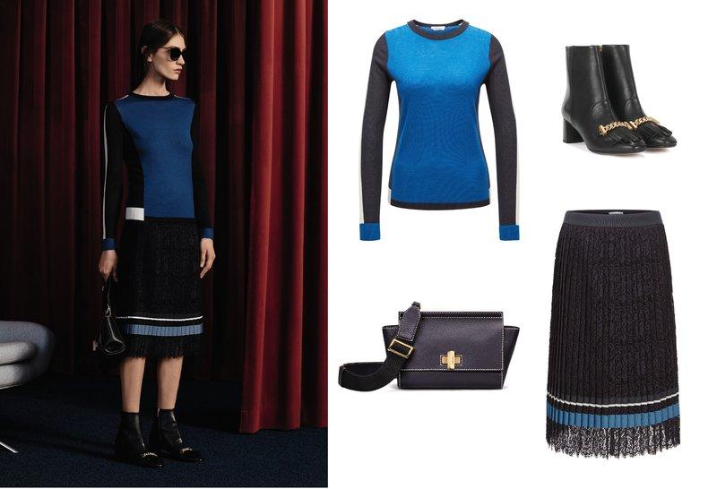 Bí quyết thời trang của Hugo Boss: (1) Áo chui đầu; (2) Túi da; (3) Chân váy xếp ly; (4) Boot cao gót.