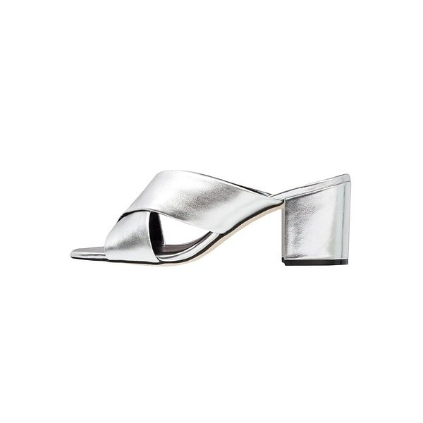 Giày mule bạc bản lớn của New Look
