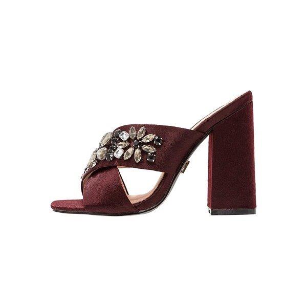 Giày mule burgundy đính đá của Lost Ink