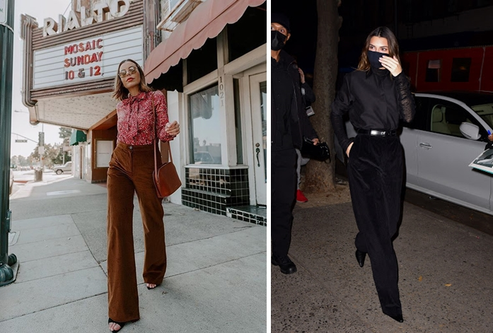 Kendall Jenner (phải) mặc quần vải nhung tăm