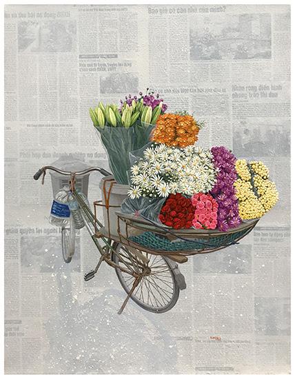 Nguyễn Tuấn Dũng,Xuân Về Trên Phố,Approaching Spring onthe Streets, 2018, Acrylic, giấy dán trên vải bố, Acrylic, collage on canvas, 90 x 70 cm.