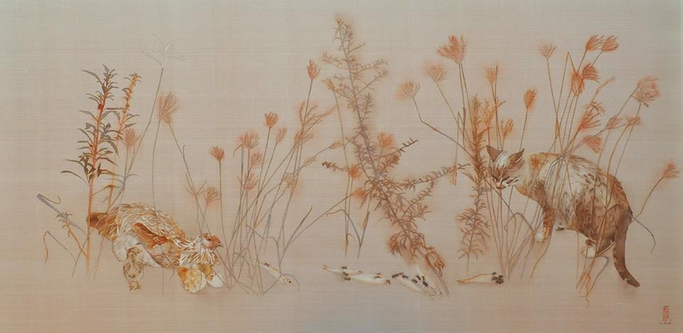 Lê Thúy,Walking in The Garden VIII,Cuộc Dạo Chơi Trong Vườn VIII;2017; Màu nước trên lụa; 65 x 135 cm.