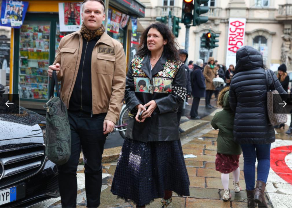 Anders Christian Madsen và Katie Grand trong trang phục Prada