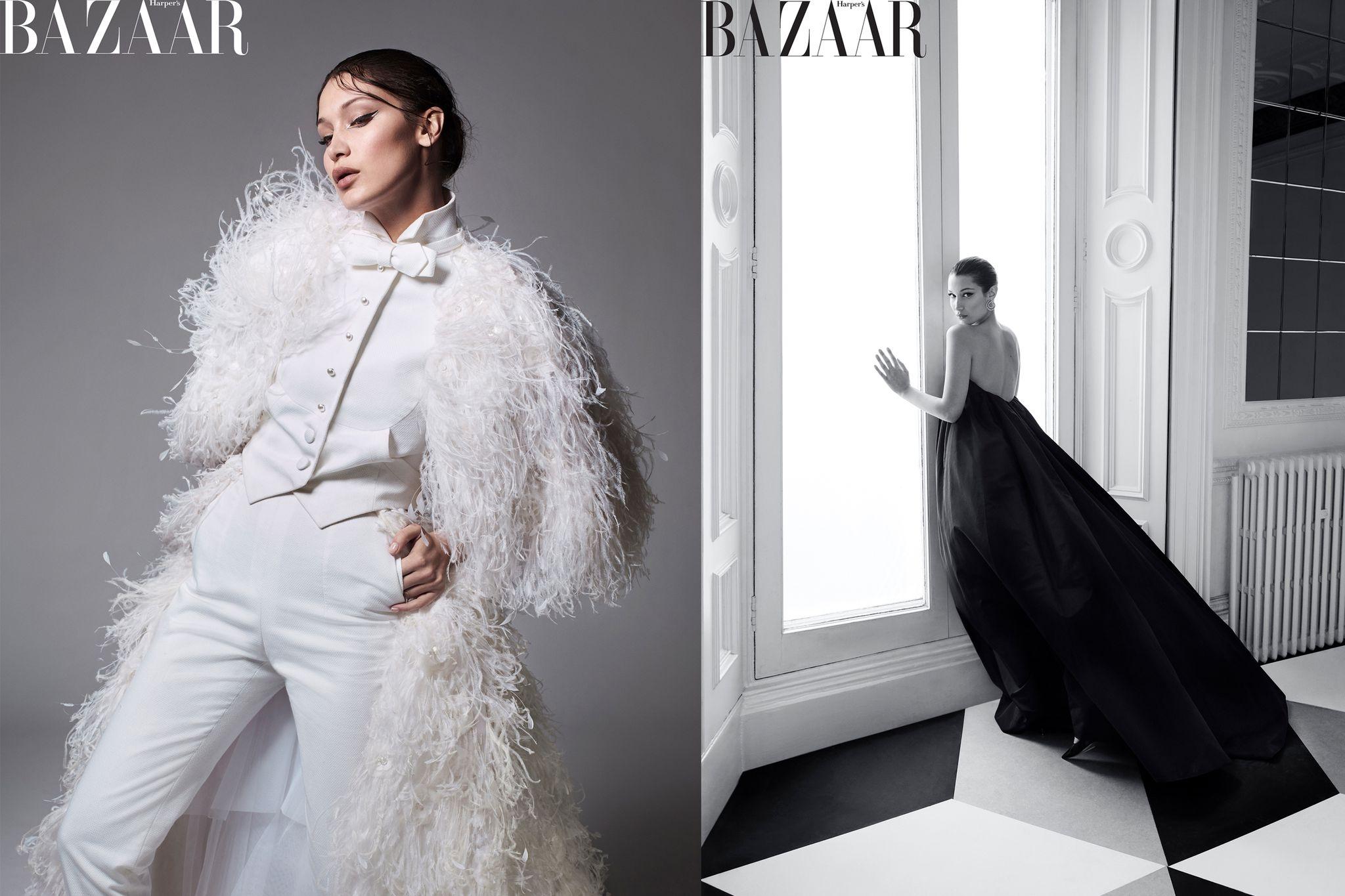 Áo choàng, quần và váy: Chanel Haute Couture. Đầm và giày: Givenchy Haute Couture. Hoa tai Chopard. BEAUTY BAZAAR: Tạo khối cho gò má và xương quai hàm với Dior Backstage Contour Palette.
