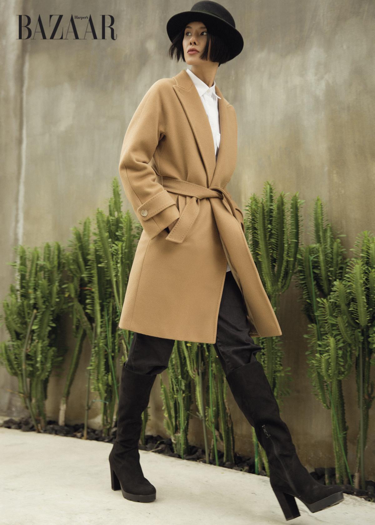 Mũ phớt: Một chiếc mũ fedora sẽ làmtăng vẻ thanh lịch và thời thượng cho các set đồ mùa Thu Đông Áo sơ mi cổ gập: Sử dụng để layering với áo khoác trench. Màu camel cực kỳ phù hợp với đen và trắng, Massimo Dutti Thoải mái. Nói đến màu camel là nghĩ đến coat và trech coat đầu tiên. Áo này phù hợp với tiết thu mát mẻ ở miền Bắc và các vùng cao nguyên se lạnh, Max Mara Bốt cao quá gối cực kỳ phù hợp với áo khoác camel. Chú ý kết hợp quần cùng màu để tạo chiều cao