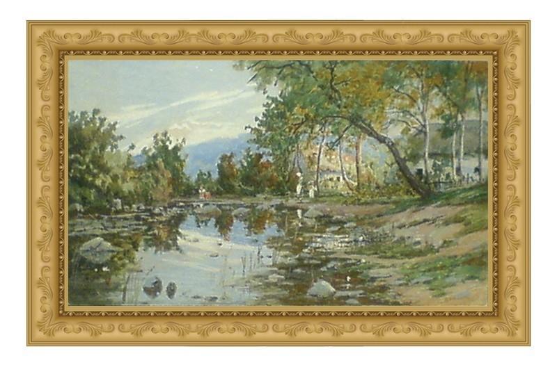 Họa sỹ Rafail Levitsky_Afternoon Impression Along a Russian Stream (1908)