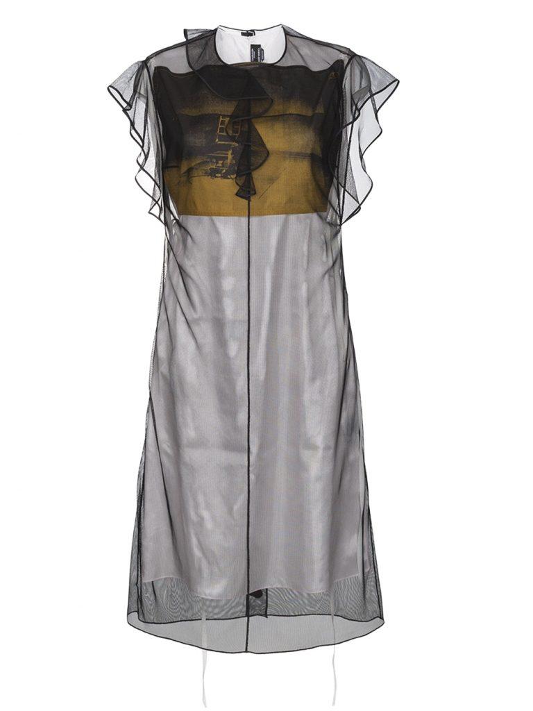 trang phục xuyên thấu Đầm ngắn tay diềm xếp Calvin Klein 205W39NYC