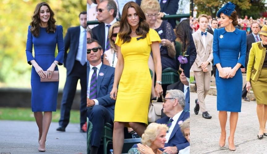 Ngoài việc hạn chế họa tiết, Kate cũng luôn ưa thích những trang phục 1 màu và biến hóa chúng theo cách cực kì trang nhã. Dù có là sắc xanh tím than đằm thắm hay màu đỏ rực rỡ thì cô ấy vẫn biết cách thêm thắt hài hòa cho bộ trang phục. Bí quyết tránh nhàm chán trong cách phối đồ của cô nằm ở chính những phụ kiện với gam màu trung tính hoặc ton-sur-ton, kèm theo đó là thiết kế đơn giản như vòng tay, giày hoặc clutch nhỏ nhắn để bổ sung cho bộ cánh thêm phần thanh lịch, nền nã.